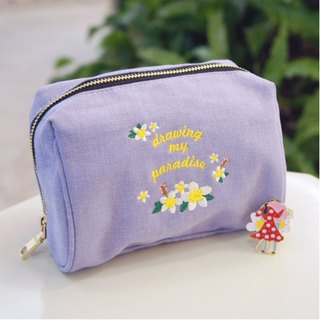A. Strawberry draws my paradise multi-function cosmetic bag - light purple