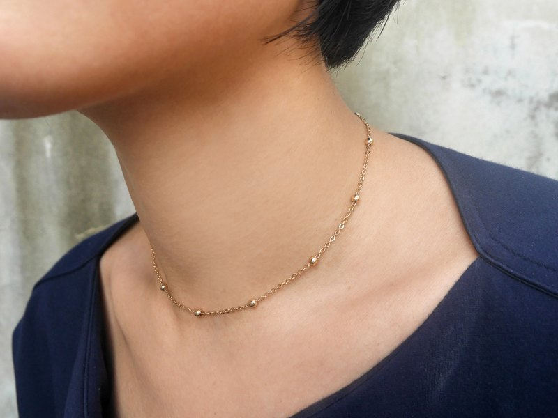 14K Gold Bean Chain -14吋