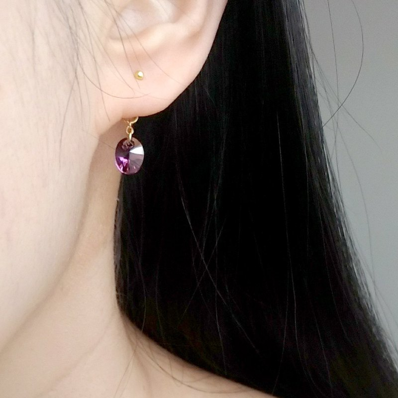 E029-Clear/Purple-Swarovski Blue Crystal Earrings