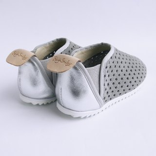 Beven Smiley. V series full leather children's shoes - tunnel models - quiet gray -30 yards (slippers / lazy shoes)