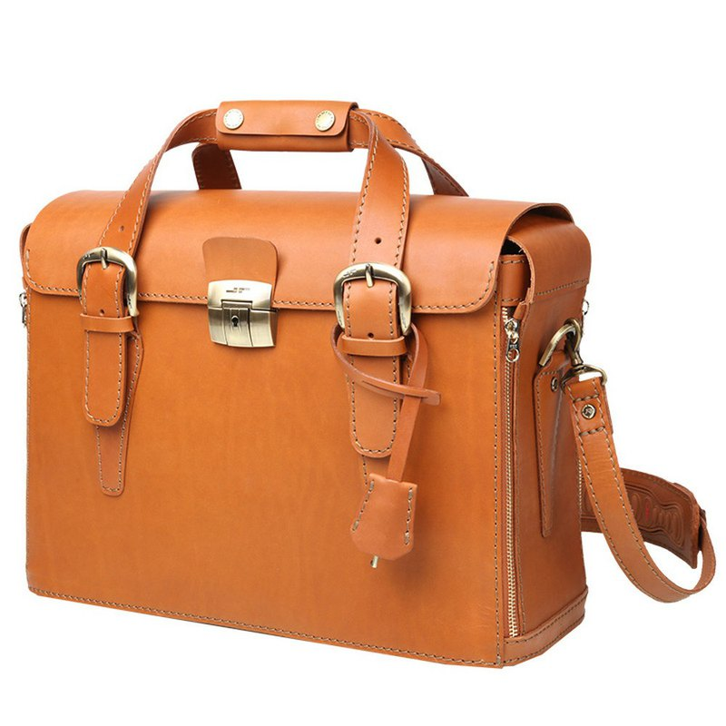 JIMMY RACING Staff Hand Strap Leather Briefcase - Camel 0329246