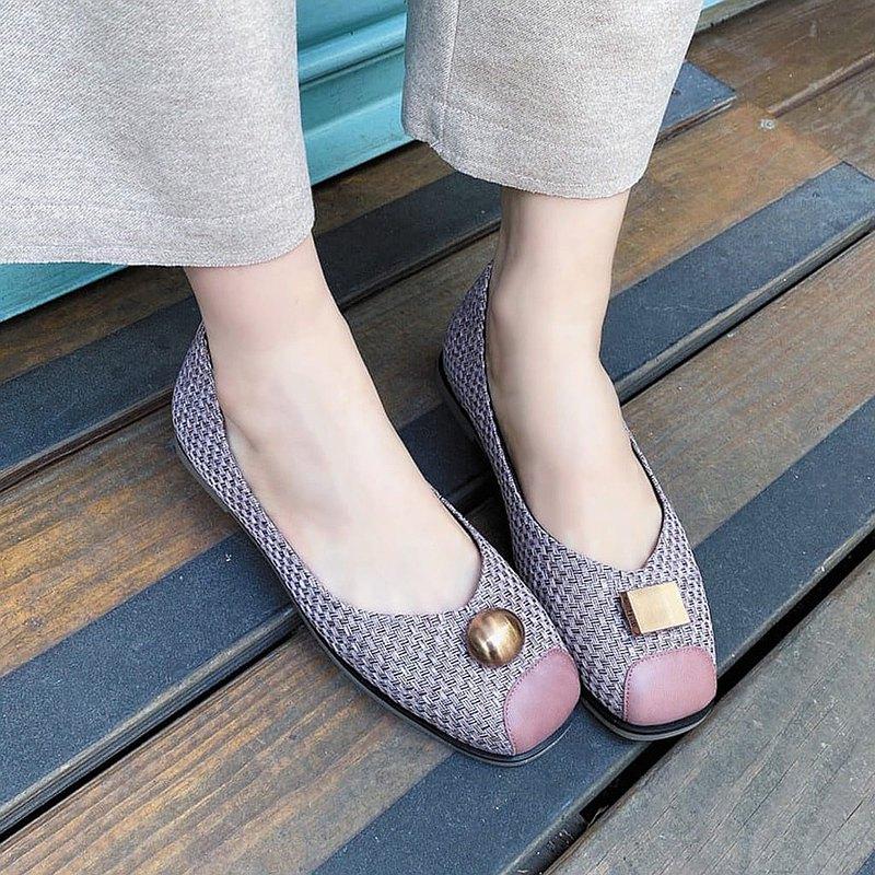 【隨方就圓】釋壓舒緩方頭編織娃娃鞋_藕粉紫