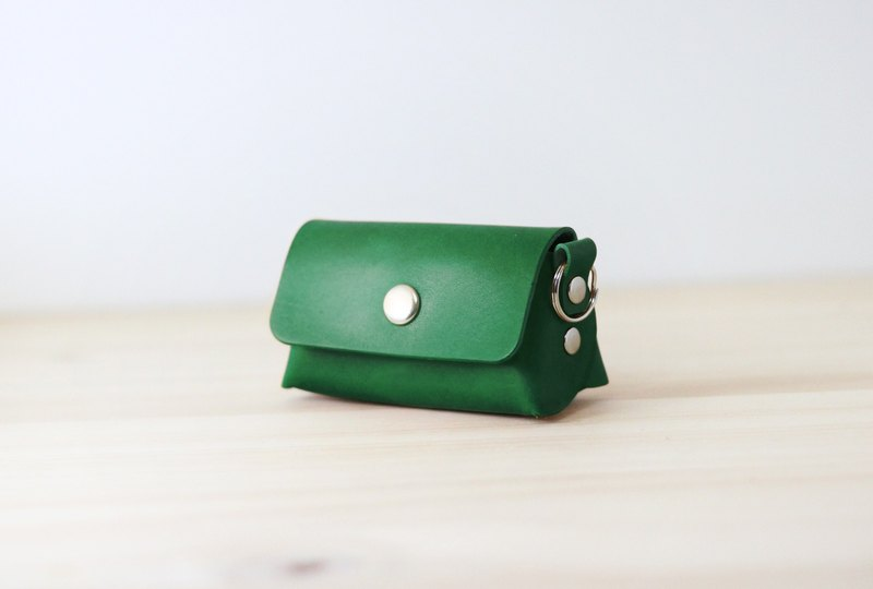 LION's Handmade Leather Coin Purse / Key Ring (Jungle Green)