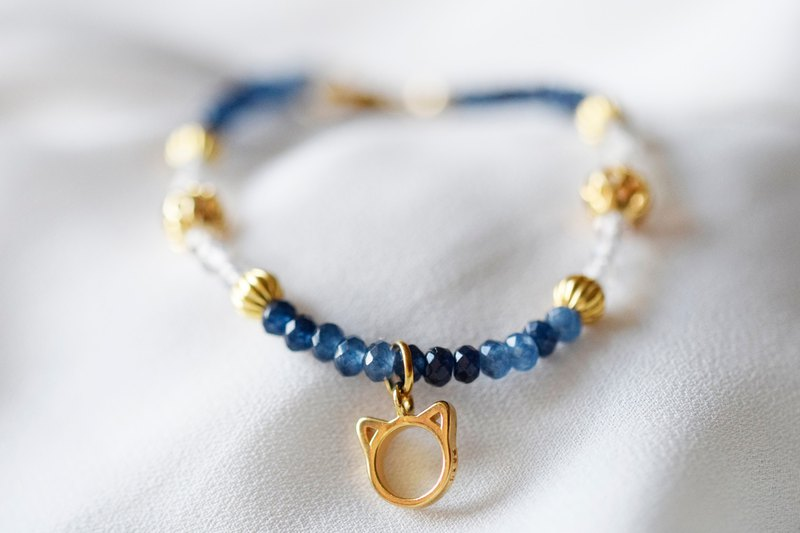 Blue Cat。Labradorite & Blue Chalcedony Natural Stone Bracelet