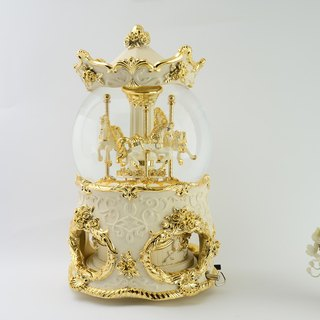 Luxury gold amusement horse crystal ball music box Valentine's Day birthday gift home decorations