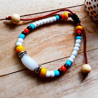 White pigeon white pigeon bracelet (love + peace) glass beads original resident set