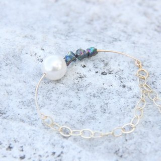 White Swarovski Pearl & Titanium Colored Pyrite Bracelet Chain