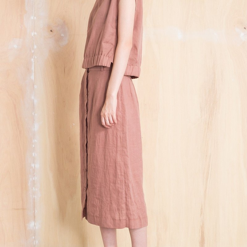 Front pack buckle linen skirt