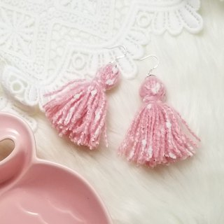 Mixed knit fringes earring (Pink with White Neps)