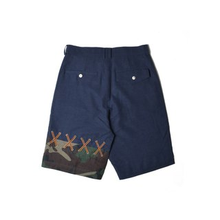 oqLiq - Root - Drawstring Shorts (Dark Blue x Camo)
