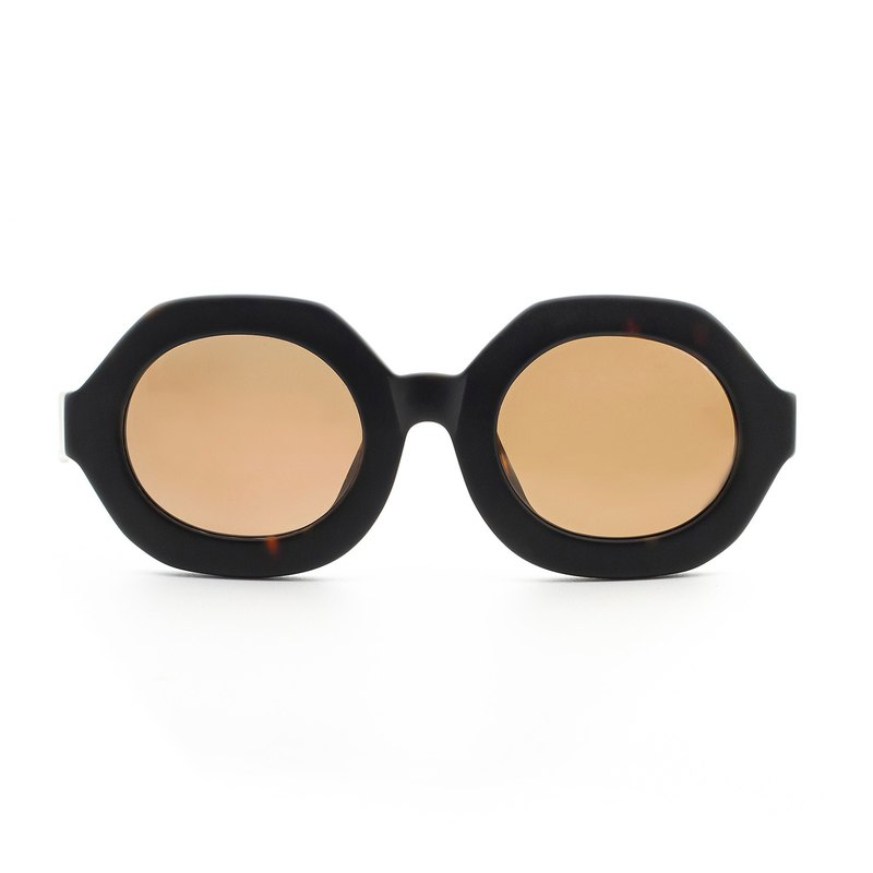 Hexagonal classic plate sunglasses - 玳瑁 matte