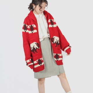 [Egg plant vintage] South American buffalo thick knit vintage sweater coat