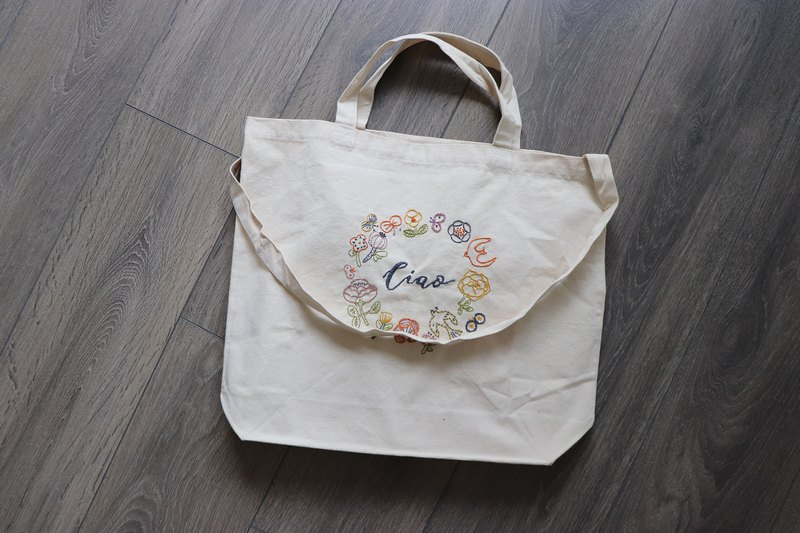 CIAO CIAO Wreath Illustration Embroidered Canvas Bag Material Set