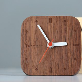 Nordic style table clock square - walnut wood log clock wall clock