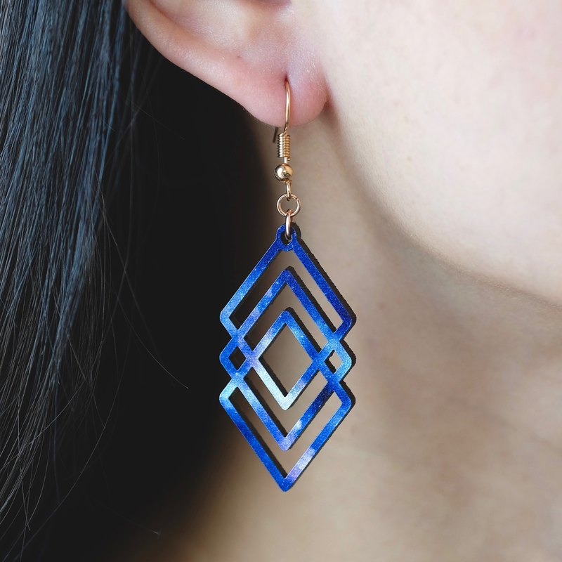 Wood earrings-Polygon blue