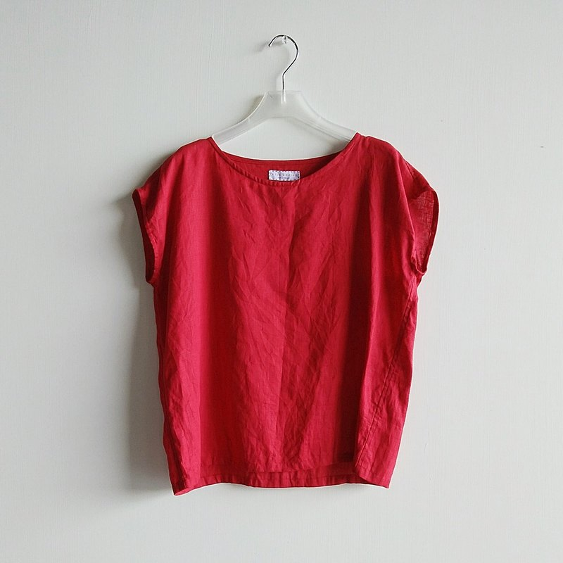 Small sleeve shirt linen red / optional color