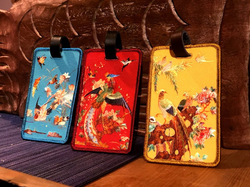 Flower and bird embroidery luggage tag (3 colors)