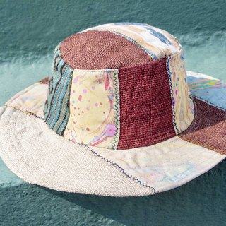 National wind stitching hand-woven cotton cap hat fisherman hat visor straw hat - Green Forest