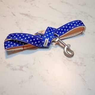 [2017 new] dog rope rope blue star star sky plant 楺 leather length can be customized collar tag