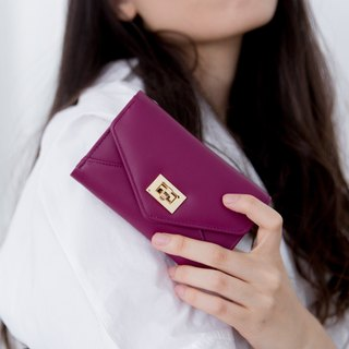 DAISY - MINIMAL CUTE WOMEN LEATHER SHORT WALLET/PURSE-PURPLE