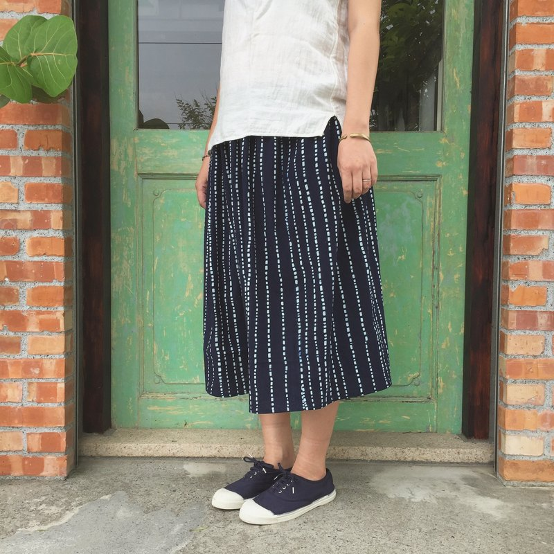 Handmade clothes natural plant dyed indigo blue dyed cloth cotton skirt
