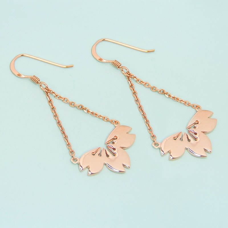 Sakura Dangling Earrings in 925 Stering Silver with Rose Gold Plating