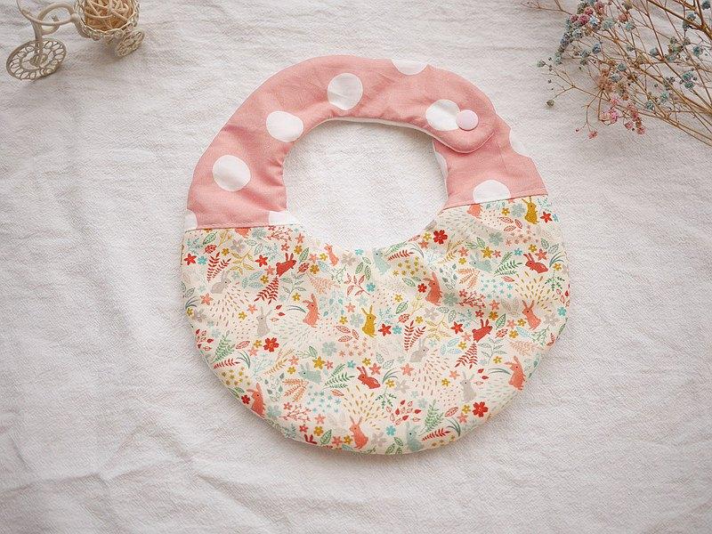 六重紗口水巾 圍兜 粉紅小兔款