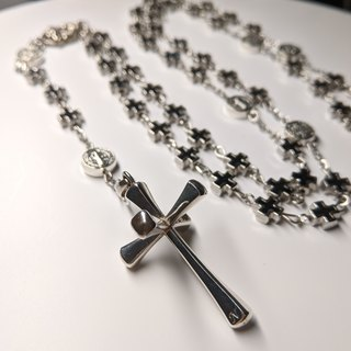 Positive cross alloy rose necklace
