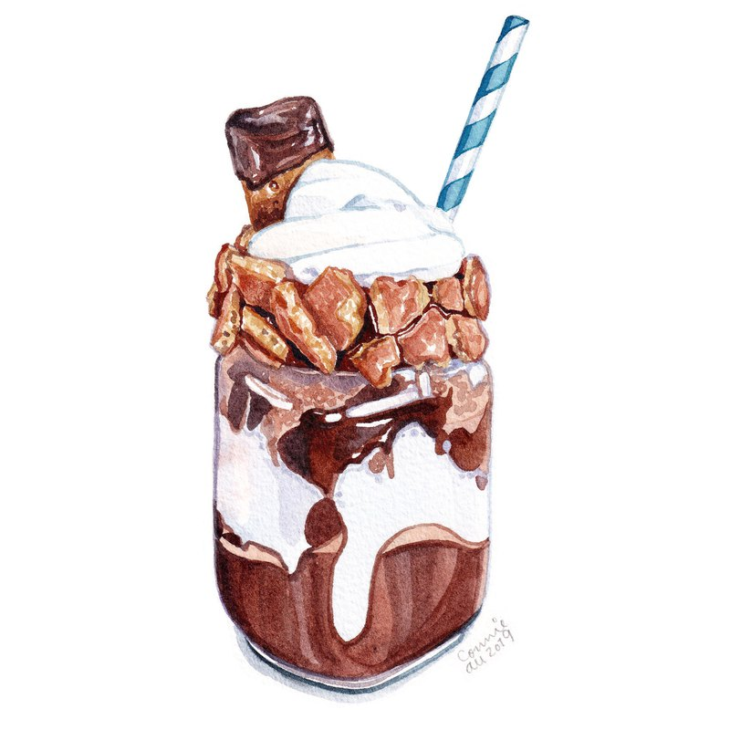 "Original Watercolour Painting (7.5"" x 5.5"") - Chocolate Milkshake"