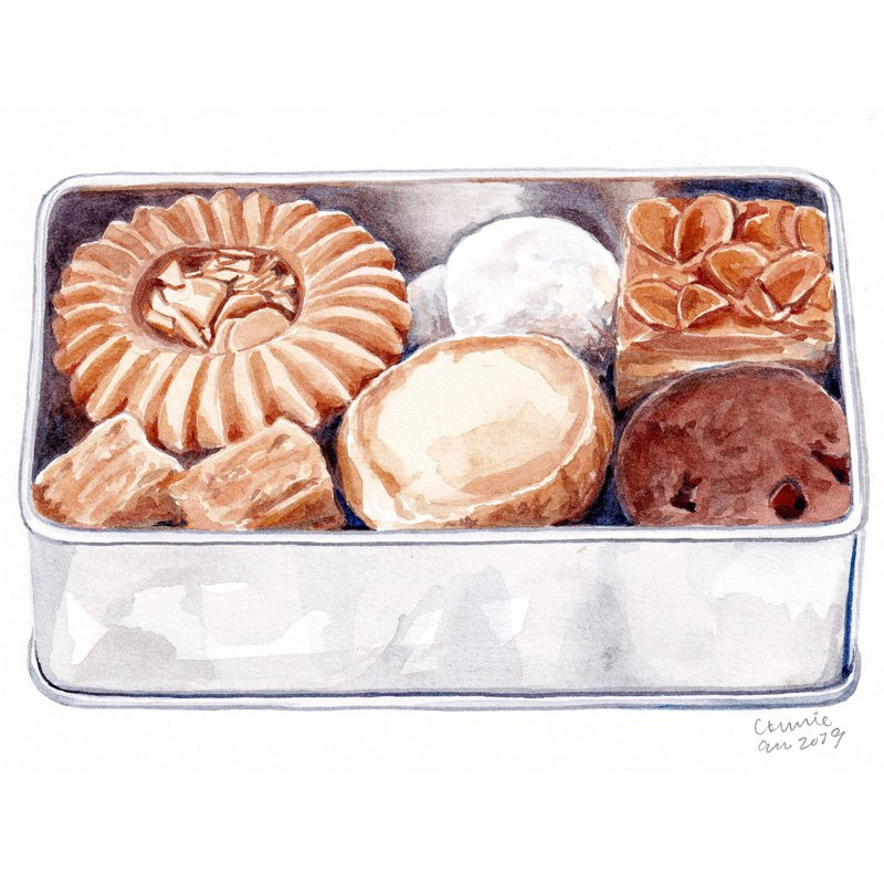 "Original Watercolour Painting (7.5"" x 5.5"") - A Tin of Cookies"