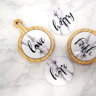 Wood Coasters Letter Cup Mat Marble Table Decor Kitchenware
