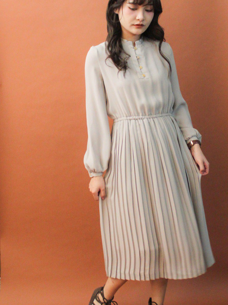 Vintage Autumn and Winter Simple and Elegant Gray Long Sleeve Vintage Dress Vintage Dress