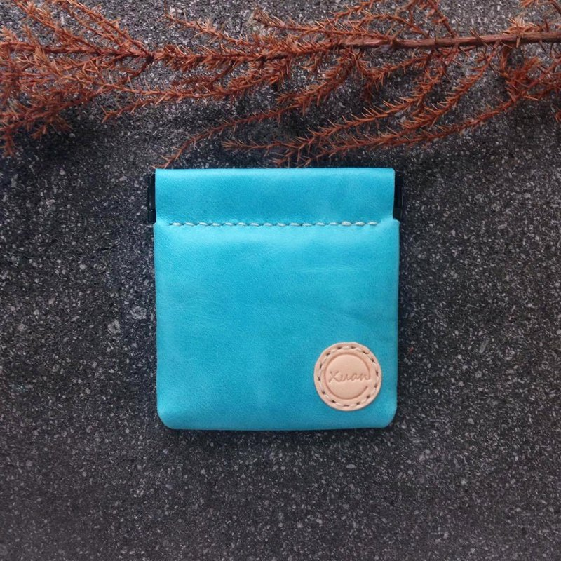 Shrapnel coin purse square - rippled blue full handmade leather wallet