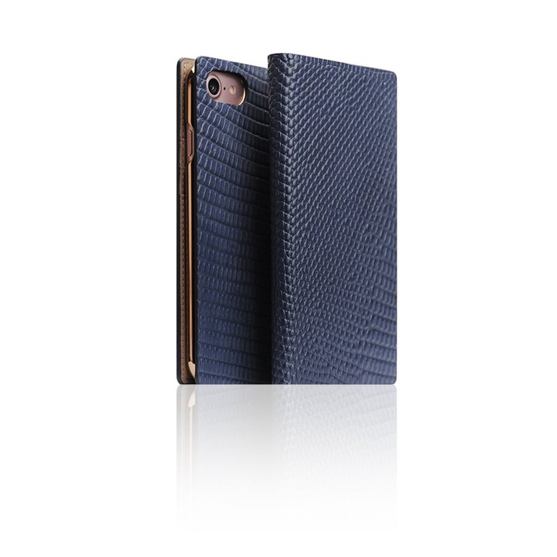 SLG Design iPhone 7 D3 ILL Classic Lizard Side Leather Leather Case - Blue
