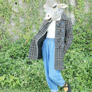 Giraffe Giraffe _ special gray orange checked bristle wool vintage horns buckle jacket