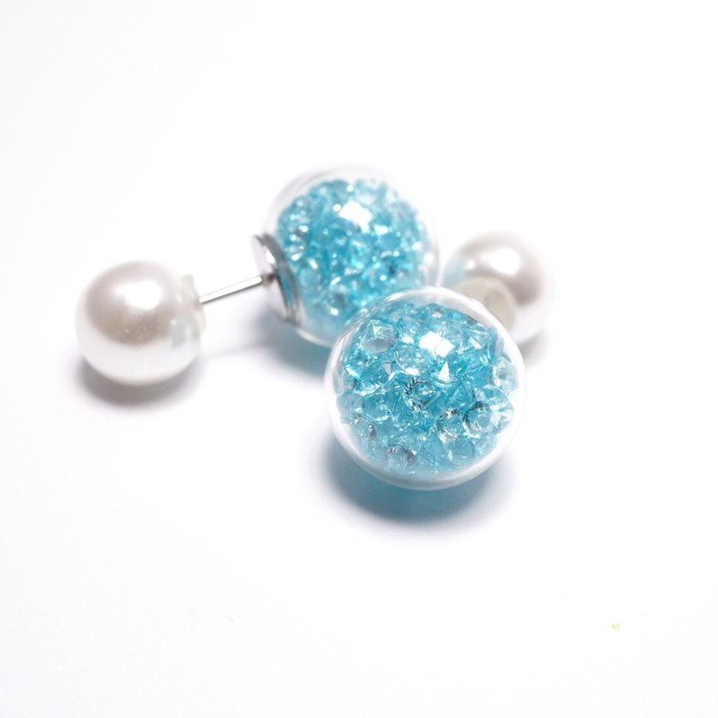Light blue crystal filled glass ball double sided earrings, crystal ball earrings
