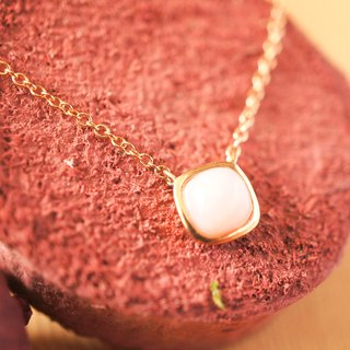 LITTLE CANDY - 6mm Cushion Cabochon Pink Opal 18K Rose Gold Plated Silver Necklace