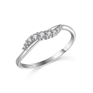 【PurpleMay Jewellery】18k White Gold Wave Natural Diamond Band R007