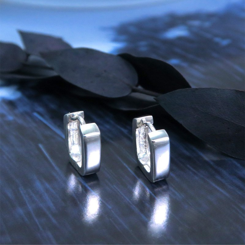 Easy Buckle/Hoop Earrings U-Barbs (Square Curves) Easy Buckle Silver Earrings ART64