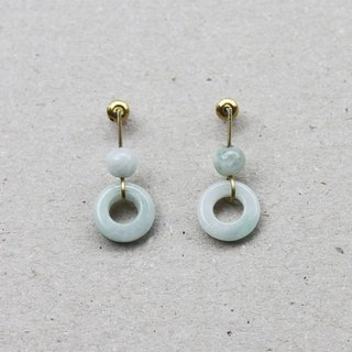 Minimal Jade Circle Earrings - Sterling Silver Posts / Clip-Ons