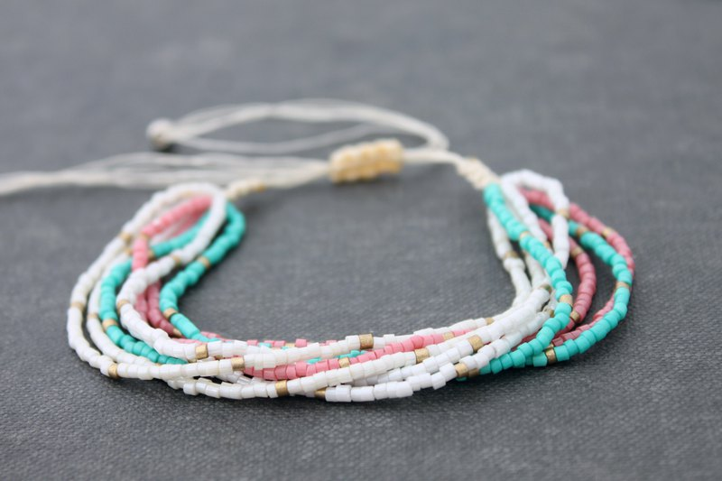 Seed Beaded Sweet Pastel Multi Strand Bracelets Hippy