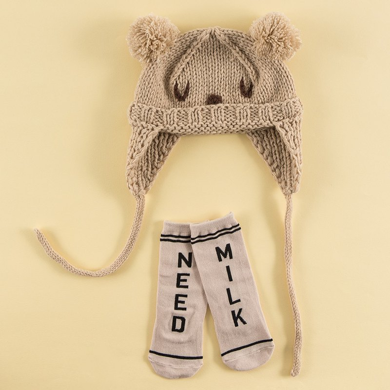 Happy Prince Bear Accessories Gift Set (Paul Baby Hat + Need Milk Baby Socks)
