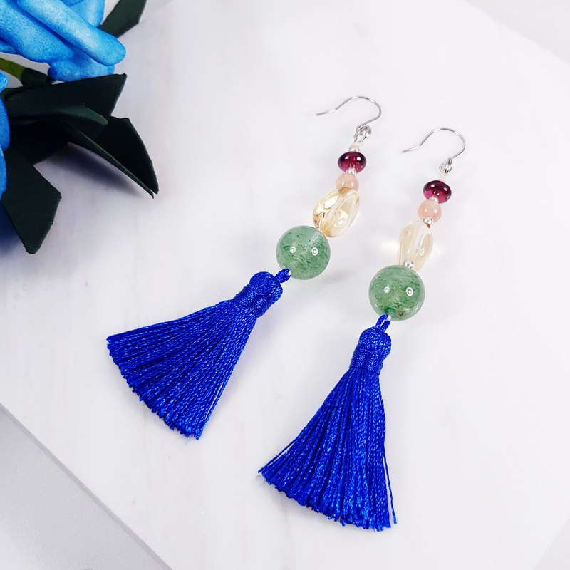 Natural clear and bright rainbow gemstone tassel earrings / clip gift comrades custom limited edition 2 pieces