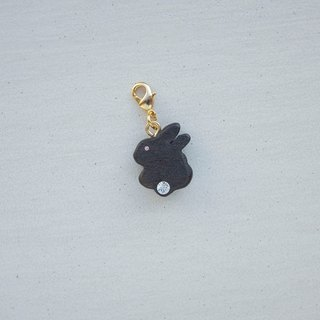 Wooden Charm Series Small Fat Rabbit Charm (optional gold or silver buckle) gift custom