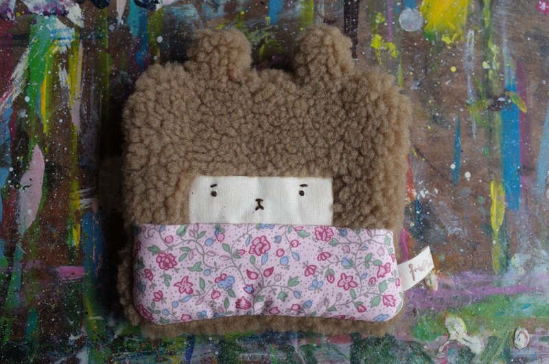 Bunny rabbit wallet - coffee hair color - spring small pink flowers