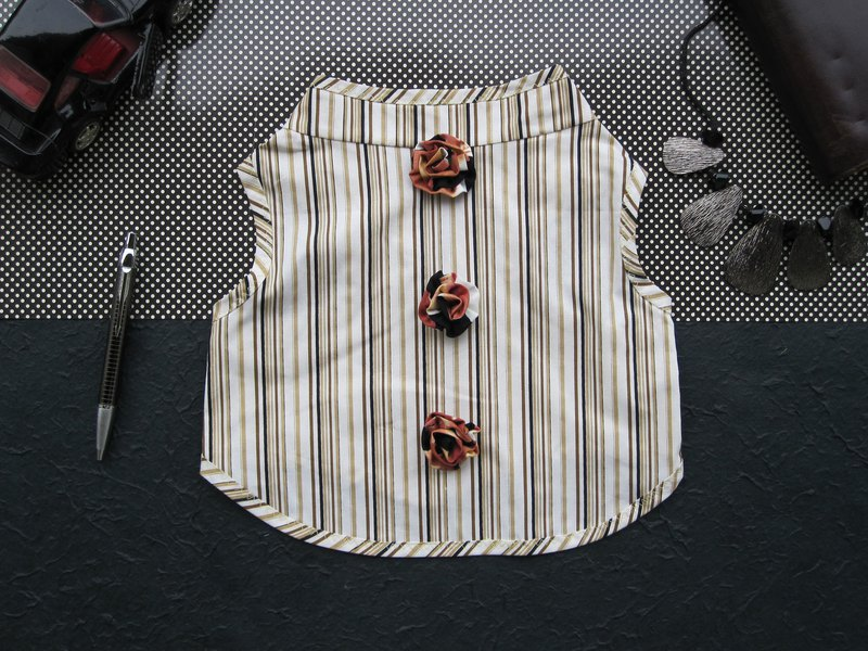 XL_Stripes theme!!!_Brown Vest with flower_ Dog Clothes for Large Dogs