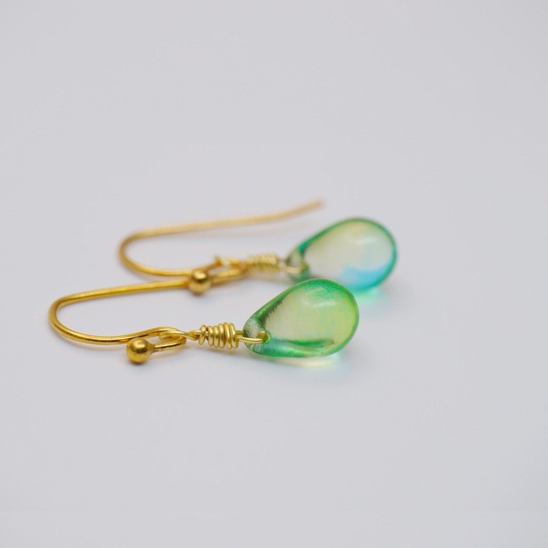 Candy Jewelry Lake Water Green Glass Earrings Blue Green Ear Hook (can change the painless ear clip)