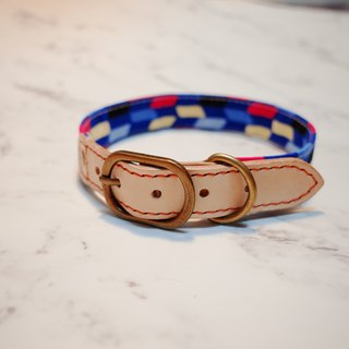 Dog Collar L No. Retro Pu Pu Feng Love Blue Pink Japanese cloth with bells planted skin does not contain tag