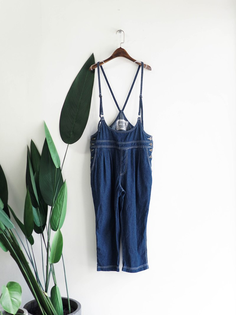Youth sea blue love spring summer and antique denim denim cotton sling trousers vintage overalls