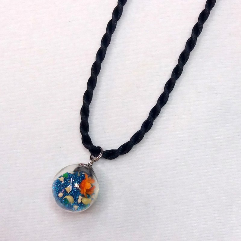 Dream Baby Star Ball Necklace (Blue / Small Flower)